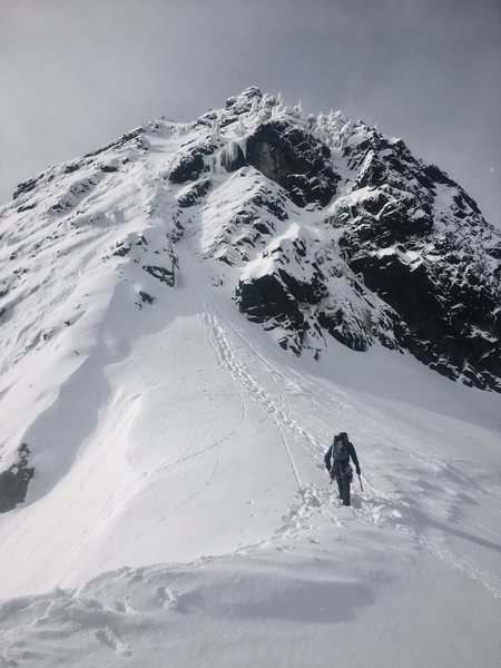 The NE Buttress route on Chair Peak on a very snowy day, Feb 24, 2017.