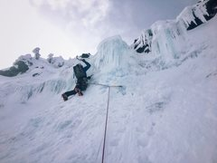 Rock Climbing Photo: Stephen leading the upper water ice step on Feb 24...