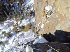 Rock Climbing Photo: Aric Fishman on technical M7, P1 of Funemployed. P...