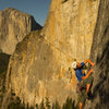 Holland Deyo onsiting the crux on the 3rd ascent<br> Dan McD photo