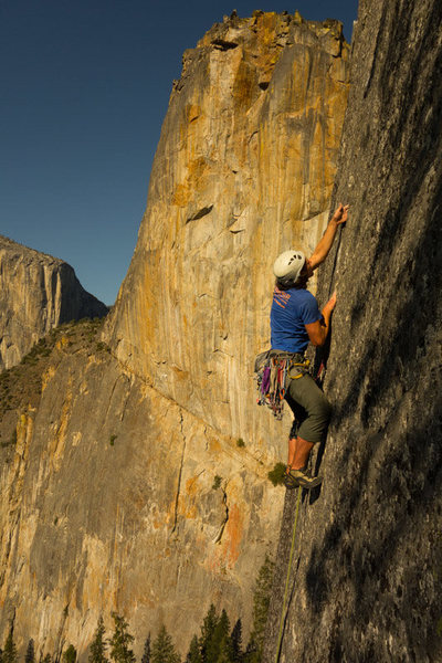 Holland Deyo cruising the crux<br> Dan McD photo