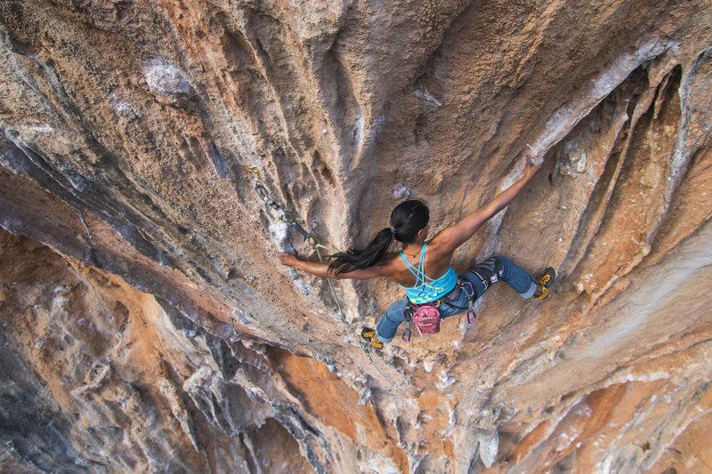 Rock Climbing Photo: Nasim working the upper moves. Photo: Ben Crawford