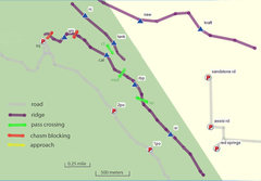 Rock Climbing Photo: map of Calico peaks + ridges ... . qm - Point 4708...