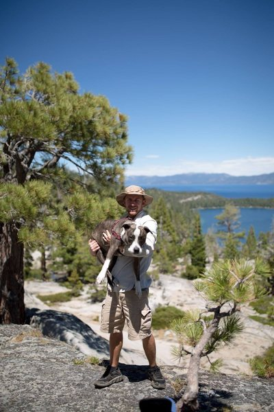 Hiking in Tahoe with my dog