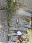Rock Climbing Photo: Karen starting Juniper Jam w/toprope.
