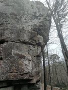Rock Climbing Photo: Route starts on left side of prow and moves up abo...