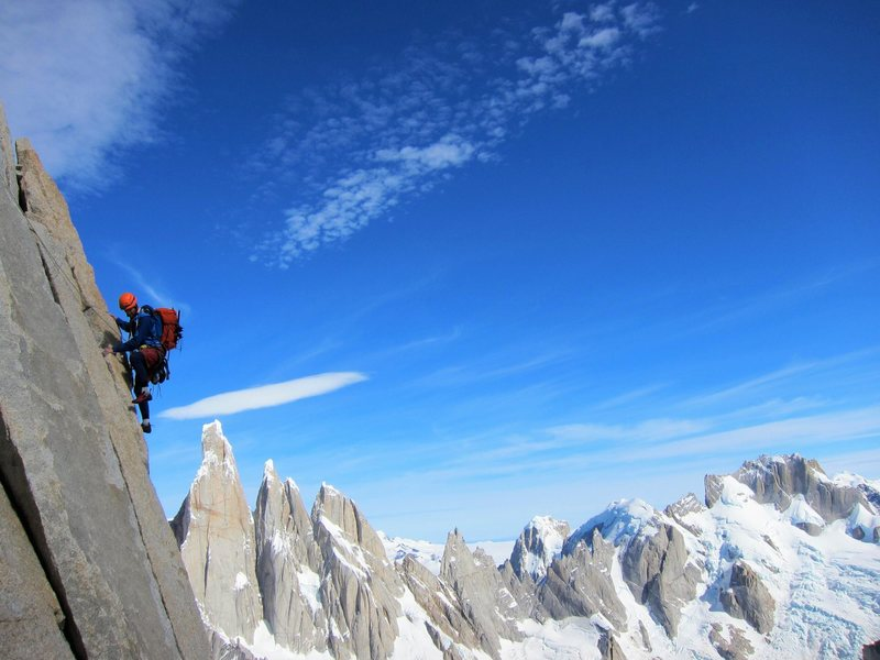 classic views of the torre during the traverse pitch