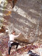 Rock Climbing Photo: S Matz at base of Knock on Rock, Nov 2005 (before ...