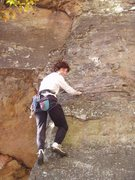 Rock Climbing Photo: S Matz bouldering the opening moves of Knock On Ro...