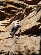 Rock Climbing Photo: On upper face/crack