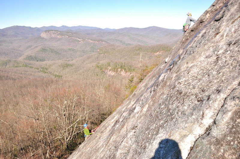Rock Climbing Photo: View from 2nd pitch. Linked 1 & 2.