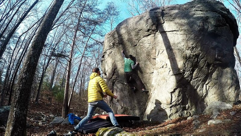 Joe McLoughlin sending Thug Sit, V6, at Borderland State Park, Easton, MA.