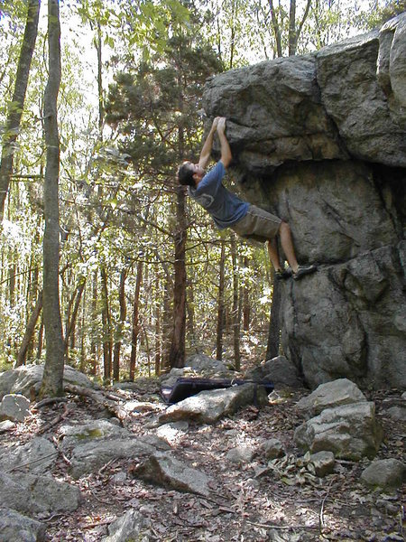 Joe McLoughlin on the Prow at the Ames Boulder.