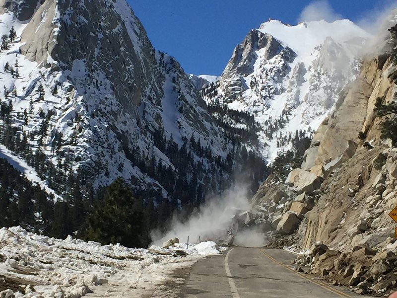 Clearing rockfall from the Whitney Portal Road Winter 2016/17.