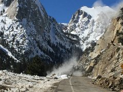 Rock Climbing Photo: Clearing rockfall from the Whitney Portal Road Win...