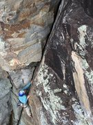 Rock Climbing Photo: Julie seconding Cackling Hens on the newly install...