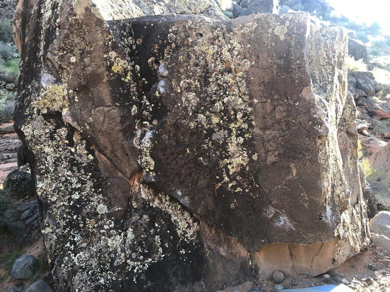 Top side of Cafe Late boulder, Volume I,II,III R>L