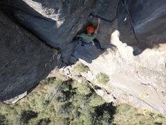 Rock Climbing Photo: Bernardo Beteta below the top-out roof of Viaje Ma...