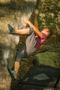 Rock Climbing Photo: Styling out the opening moves on Moby's Dick.