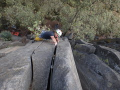 Rock Climbing Photo: Mauricio Herrera Cuadra climbing the crux headwall...