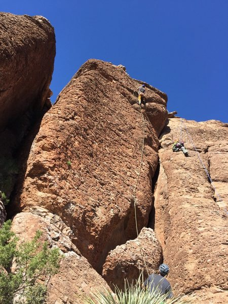 Rock Climbing Photo: foot behind rope, locked off for the clip... oh we...