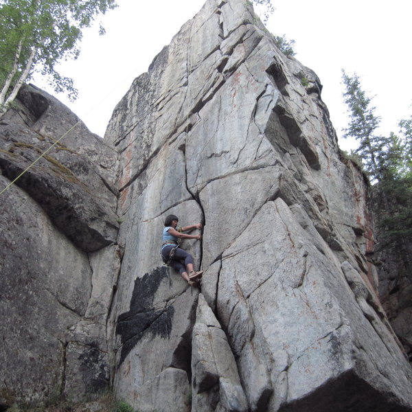 Rock Climbing Photo: crucifix top rope setup. You can take the crack sy...