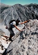 """Rock Climbing Photo: Another pic of Walter Hawkins on the FA of """"T..."""