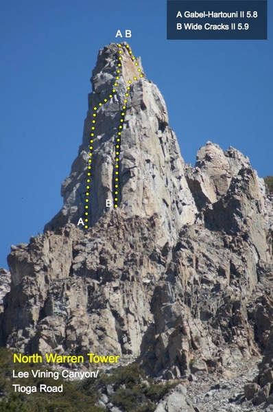 Rock Climbing Photo: North Warren Tower with lines marked