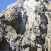 Looking up the first pitch of the Gabel-Hartouni route on the North Warren Tower