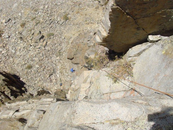 Ed Hartouni follows the 1st pitch on the FA of the Gabel-Hartouni route on the North Warren Tower