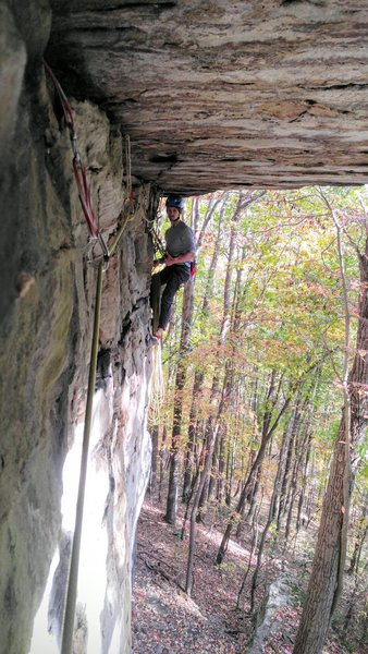 Rock Climbing Photo: Max belaying at the end of the Roof Traverse.