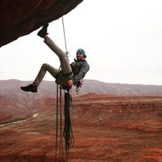 # 19 Mexican Hat Rock - w/ Carolyn via The Bandito Route. A fun, short little bolt ladder. Climbed it at 6am just before the rain came in on our way down to a Wedding on the Navajo Res.