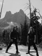 My favorite black metal band posing before my favorite alpine crag.