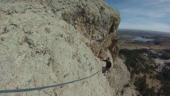 Rock Climbing Photo: Ron following up the sweet traverse.