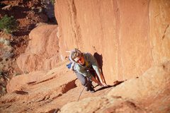 Rock Climbing Photo: Very fun laybacking on P1. (Photo: Giselle Fernand...