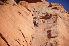 Rock Climbing Photo: Bean leading the first pitch.  (Photo: Giselle Fer...