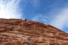 Rock Climbing Photo: Setting up anchor at the top.