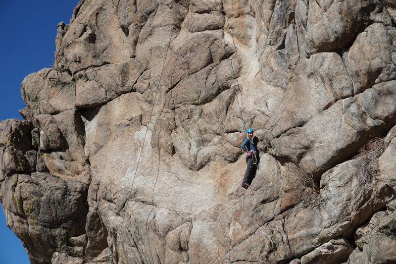 "Rock Climbing Photo: To the right of the ""thin flake crux"" me..."