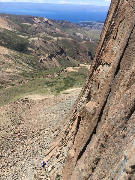 Rock Climbing Photo: Looking down from the belay before the money pitch...