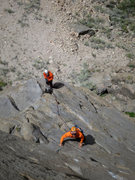 Rock Climbing Photo: Tom starting up pitch 2 on the 2nd ascent.