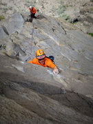 "Rock Climbing Photo: Tom hitting the ""jug"" after the crux."