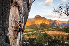 Beautiful place to climb at sunset. <br />Photo: Max Owens