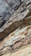 Rock Climbing Photo: Looking up from the ledge at the start of the clim...