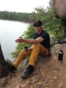 Rock Climbing Photo: politickin' at the base of pano, with dat gree...