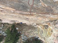 Rock Climbing Photo: Brent surmounting the initial bulge on the first h...