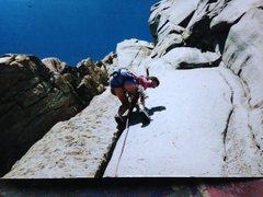 Rock Climbing Photo: Fletcher Wilson on the classic 5.9 hand crack on t...