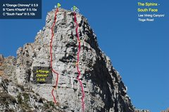 """Rock Climbing Photo: Topo by Paul Teare showing location of the """"S..."""