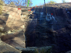Rock Climbing Photo: looking up, marked the dandy line anchors, and hem...