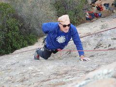Rock Climbing Photo: John enjoying the slopers on Route #9.