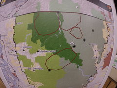 Rock Climbing Photo: Bear release areas circled in red